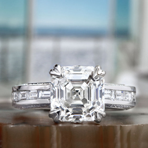 2.10 Ct. Signature Asscher Cut Diamond Ring w Baguettes E Color VS1 GIA Certified