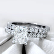 3.60 Ct. Classic Radiant Cut Diamond Ring w Matching Band H Color VS1 GIA Certified