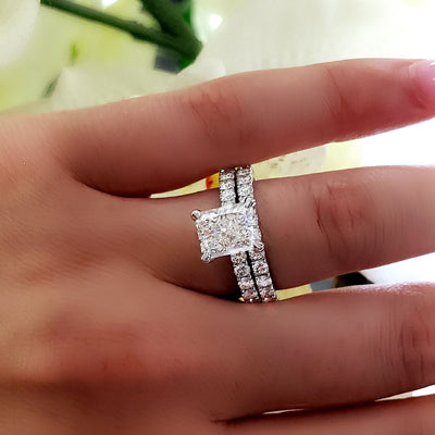 Radiant Cut Diamond Engagement Ring Set w Accents