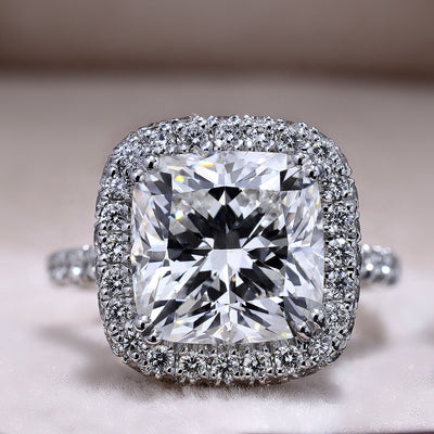 3.55 Ct. Cushion Cut Diamond Halo Pave Engagement Ring E Color SI1 GIA Certified