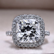 4.05 Ct. Cushion Cut Diamond Halo Pave Engagement Ring J Color VS2 GIA Certified