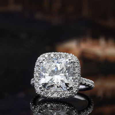 3.50 Ct. Cushion Cut Diamond Halo Engagement Ring I Color VS2 GIA Certified