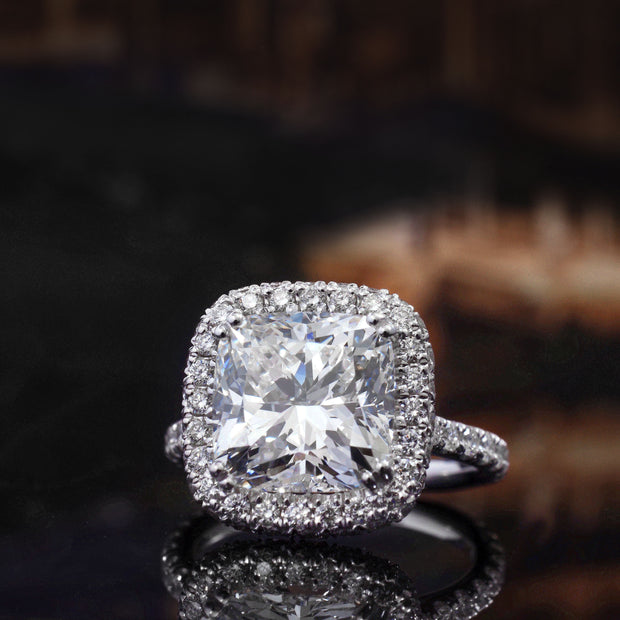 3.40 Ct. Halo Cushion Cut Diamond Engagement Ring GIA G Color VS1 GIA Certified