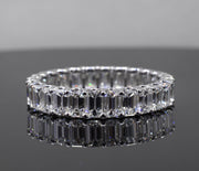 3.50 Ct. U-Setting Emerald Cut Diamond Eternity Ring F-G Color VS1 Clarity