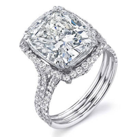 3.16 Ct. Cushion Cut Diamond Engagement Ring H,VVS2