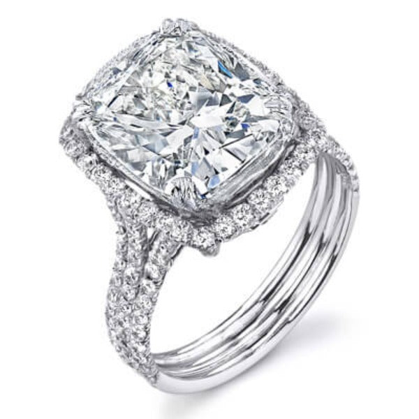 3.86 Ct. Cushion Cut Diamond Engagement Ring E,SI1 GIA
