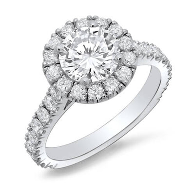 2.10 Ct. Halo Round Cut U-Setting Diamond Engagement Ring F,SI2
