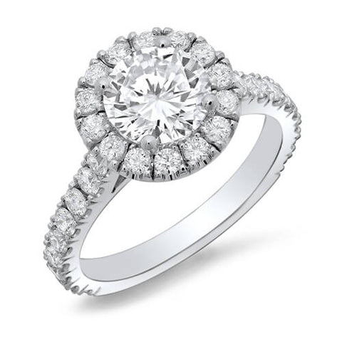 3.18 Ct. Halo Round Cut U-Setting Diamond Engagement Ring J,SI2 GIA
