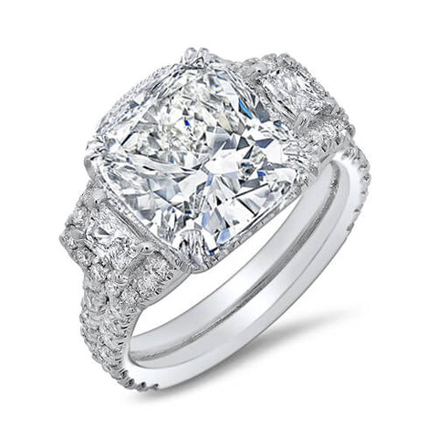 3.65 Ct. Cushion & Halo Trapezoid Diamond Engagement Ring E,SI1 GIA