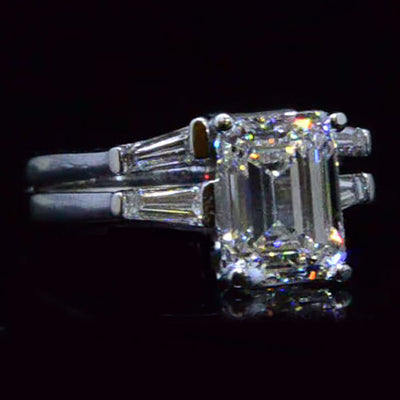 2.52 Ct.Three Stone Emerald & Baguette Cut Diamond Engagement Ring Set H,VVS2 GIA