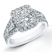 2.68 Ct. Halo Cushion Cut Diamond French Pave Engagement Ring H,VS1 GIA