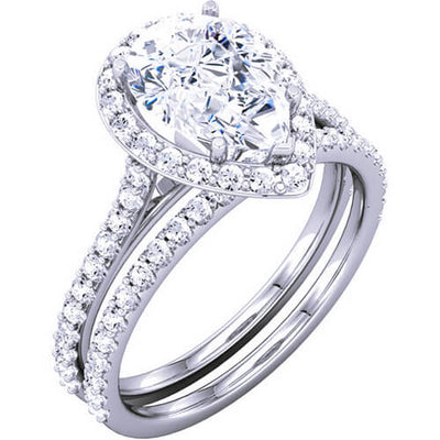 2.26 Ct. Halo Pear Cut Diamond Engagement Ring & Matching Band D,VS2 GIA
