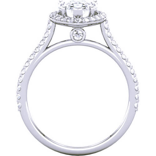 Halo Pear Cut Tear Drop Diamond Engagement Ring