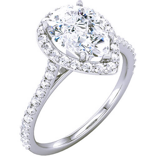 1.85 Ct. Pear Cut Diamond Halo Engagement Ring D,VS2 GIA