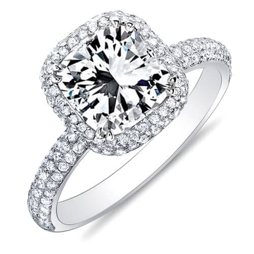 4.04 Ct. Radiant Cut Micro Pave Halo Round Diamond Engagement Ring H,VS1 GIA