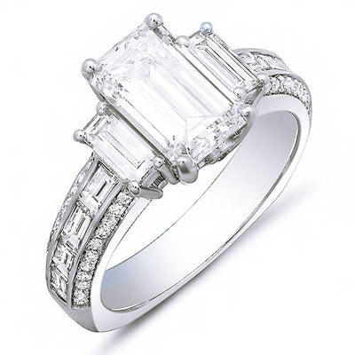 2.44 Ct. Emerald Cut, Baguette & Round Diamond Engagement Ring H,VVS1 GIA