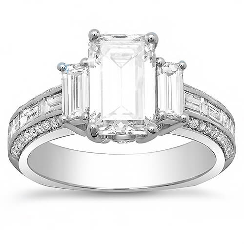 2.95 Ct. Emerald Cut, Baguette & Round Diamond Engagement Ring F,VS1 GIA