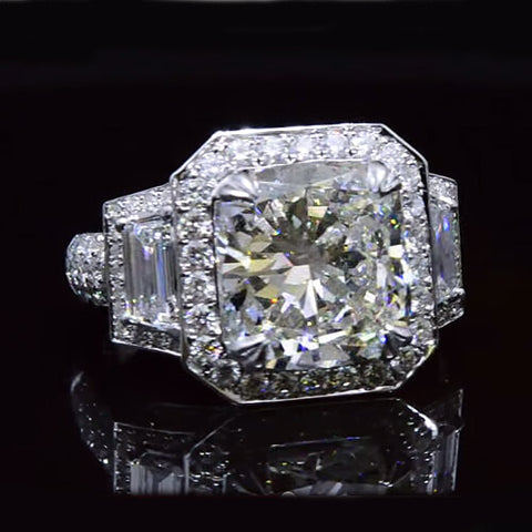 6.44 Ct. Cushion Cut with Trapezoid Cut Diamond Halo Engagement Ring