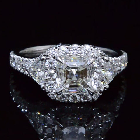 2.40 Ct. Three Stone Asscher Cut & Trillion Diamond Ring with Accents
