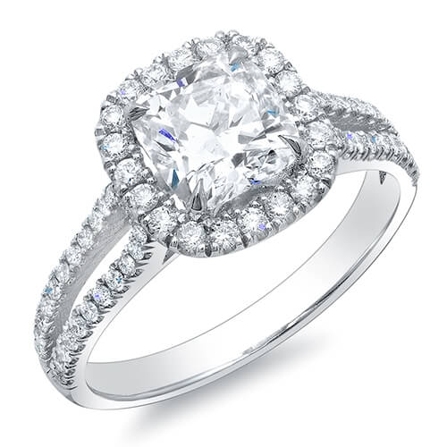 1.66 Ct. Halo Cushion Cut Split Shank Diamond Engagement Ring E,VS1 GIA