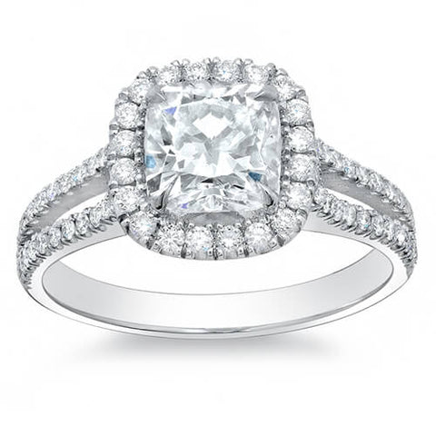 2.95 Ct. Halo Cushion Cut Split Shank Diamond Engagement Ring F,SI1 GIA