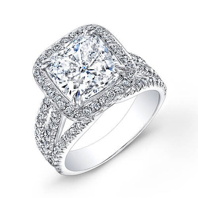 3.00 Ct. Halo Cushion Cut French & Micro Pave Diamond Engagement Ring G,VS2 GIA