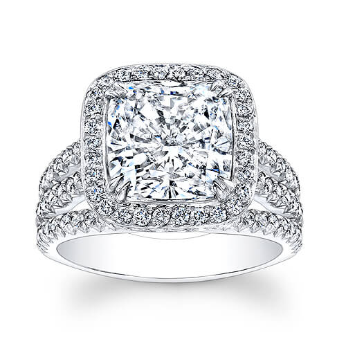 3.30 Ct. Halo Cushion Cut French & Micro Pave Diamond Engagement Ring F,VS1 GIA