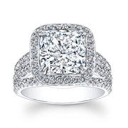 3.80 Ct. Halo Cushion Cut French & Micro Pave Diamond Engagement Ring E,SI1 GIA