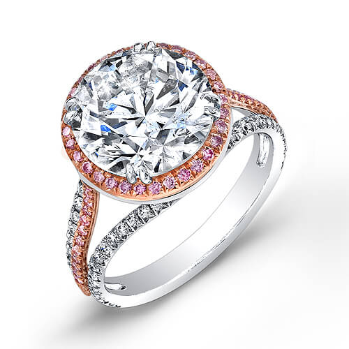 3.52 Ct. Round Cut Diamond & Pink Sapphire Halo Engagement Ring I,SI2 GIA