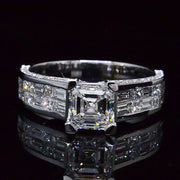 3.64 Ct. Asscher Cut w/ Baguette, Princess & Round Cut Diamond Engagement Ring