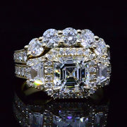 5.37 Ct. Asscher Cut Diamond w/ Round & Trapezoid Engagement Ring Set G,VVS2 GIA