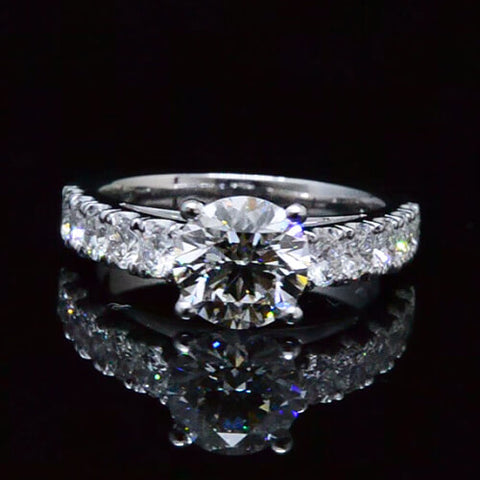 2.16 Ct. Round Cut Diamond Pave Engagement Ring F,VS2 GIA