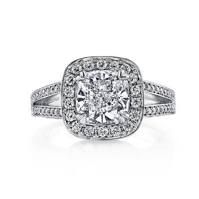 2.11 Ct. Pave Halo Cushion Cut Diamond Engagement Ring G,SI1 GIA