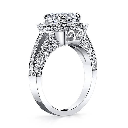 2.30 Ct. Pave Halo Cushion Cut Diamond Engagement Ring F,VS1 GIA
