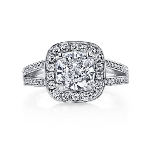 4.13 Ct. Pave Halo Cushion Cut Diamond Engagement Ring J,VS2 GIA