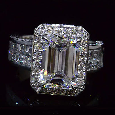6.80 Ct. Stunning Halo Emerald Cut Diamond Ring w Baguettes E Color VVS2 GIA Certified