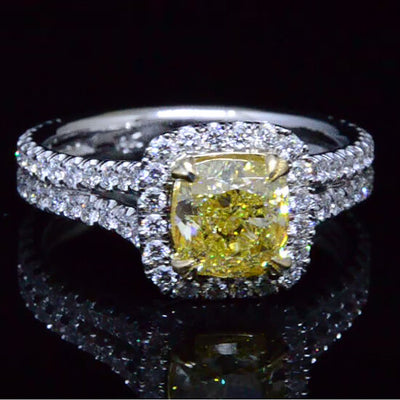 2.32 Ct. Fancy Yellow Halo Diamond Engagement Ring VVS1 GIA