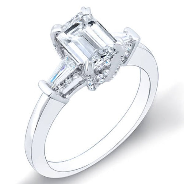 1.51 Ct. Emerald Cut & Baguettes Diamond Engagement Ring D,VVS2 GIA