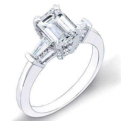 1.60 Ct. Emerald Cut & Baguettes Diamond Engagement Ring D,VS2 GIA