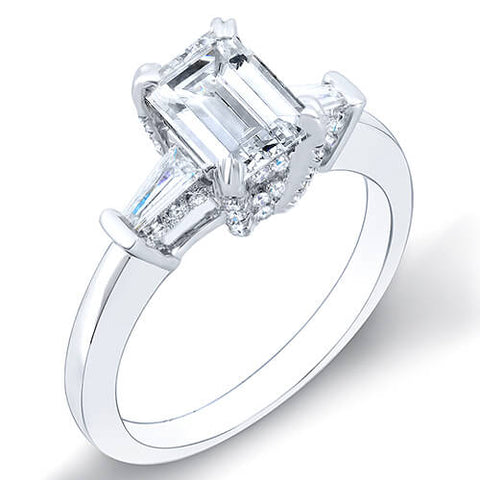 1.61 Ct. Emerald Cut & Baguettes Diamond Engagement Ring F,VS2 GIA