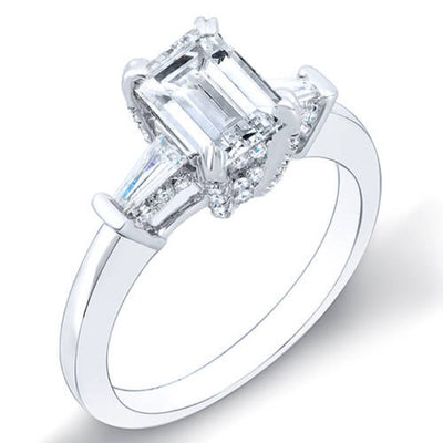 1.84 Ct. Emerald Cut & Baguettes Diamond Engagement Ring H,VVS1 GIA