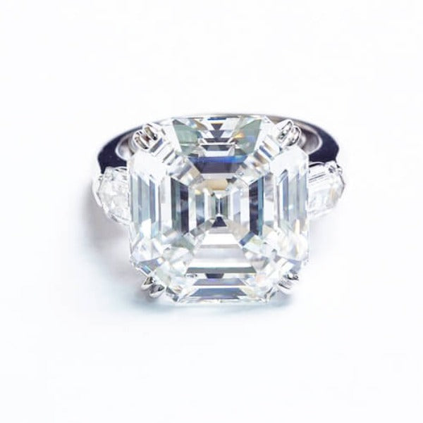 2.84 Ct. 3 Stone Asscher Cut Diamond Ring G,VS1 GIA
