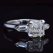 3.25 Ct. Three Stone Asscher Cut Diamond Ring