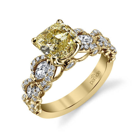 Canary Fancy Yellow Cushion Cut Diamond Engagement Ring in yellow gold