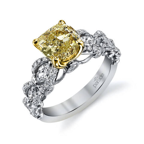 Canary Fancy Yellow Cushion Cut Diamond Engagement Ring