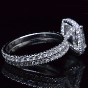 4.20 Ct. Cushion Cut Diamond Halo Engagement Ring Set E,SI1 GIA
