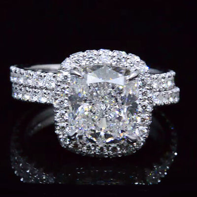 halo cushion cut diamond ring set