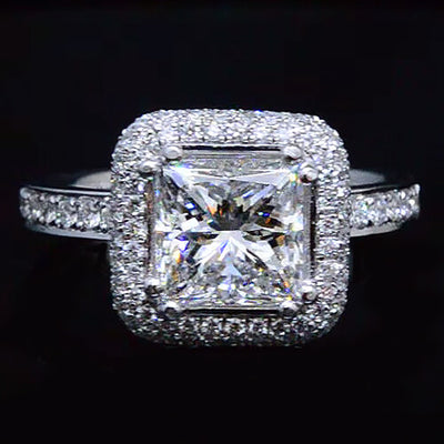 3.08 Ct. Princess Cut Halo Micro Pave Diamond Engagement Ring E,VS1 GIA