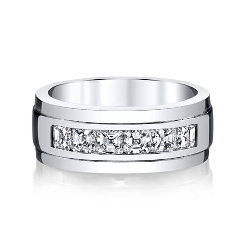 1.50 Ct. Men's Asscher Cut Diamond Wedding Ring Channel Set