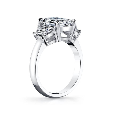 2.08 Ct. Emerald Cut & Trapezoid Three Stone Diamond Ring H,VS1 GIA